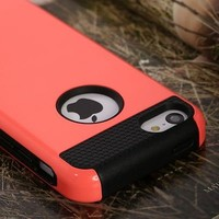 Black Heavy Duty Hybrid Rugged Hard Case Cover For iPhone 6 Plus 5.5+Stylus+Film