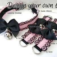 Lilith Set [Design Your Own] Lace Thin Pleated Kitten/Pet Play DDLG Collar and Cuff Set