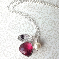 Silver, Ruby/Garnet, Freshwater Pearl Personalized Initial Necklace Petite Size for Bridesmaid/New Mom