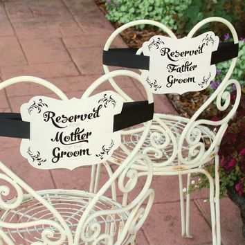 Set Of 2 Ivory Shimmer Parents Of Groom Reserved Chair Decorations