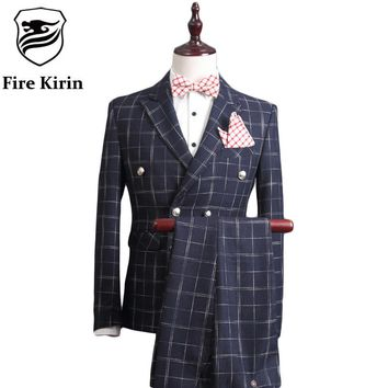 Double Breasted Slim Fit Suit Men Men Plaid Suits Groom Wedding Suit Male Business Formal Wear