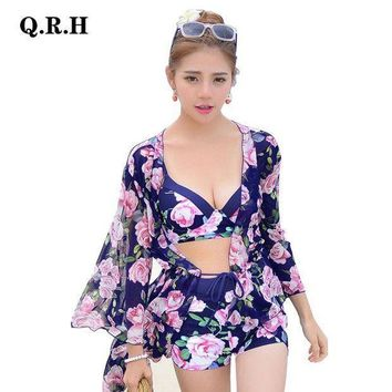 Bikinis Set For Sexy Ladies Pink Floral Three Pieces Swimwear With Covers Up Bathing Suit Women's Bikinis 6789