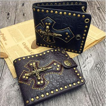 Goth Skull Cross Black PU Leather Biker Punk Snap zipper Wallet