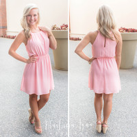 Blush Chiffon Flare Dress