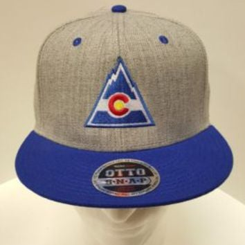 Colorado Flag Triangle Flag Embroidered Hat Cap Snapback Heather Grey Blue Bill