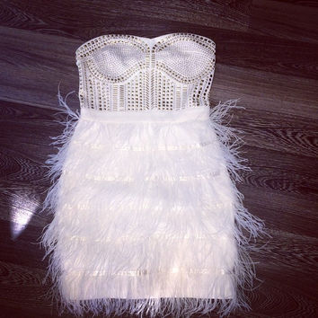 Real Ostrich Feather Strapless Party Dresses