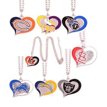 Bears Vikings Titans Bengals St. Louis Cardinals Detroit Lions Chargers Raiders Football Swirl Heart Necklaces