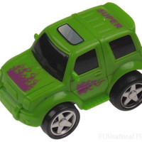 Green 4WD Super Truck Jeep Lot 6 Pull Back Car Toy Flames Party Favor Runs Moves