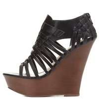 Black Platform Huarache Wedge Sandals by Charlotte Russe