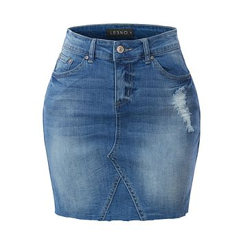 Cotton Distressed Ripped Frayed Hem A-Line Denim Mini Skirt