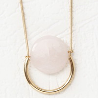 Faux Stone Pendant Longline Necklace