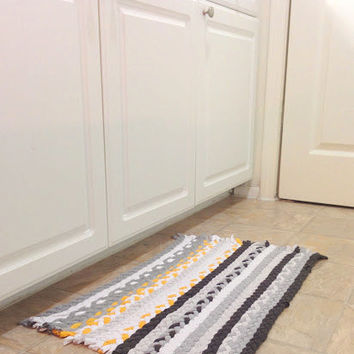Yellow Grey Rug, Braided Rug, Upcycled Tshirt Rug, Rectangular Rug, Kitchen Rug, Braided Rag Rug, Upcycled Rag Rug, Handmade Rug