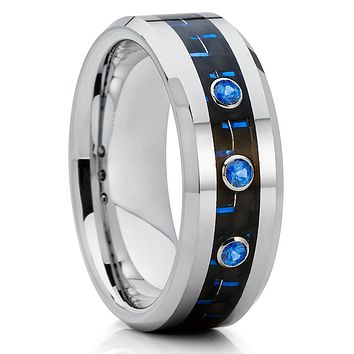 Blue Sapphire Ring - Carbon Fiber Ring - Tungsten Wedding Band - 8mm - Men's