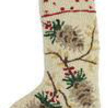 "17"" White Christmas Stocking with Pinecones"