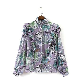 Floral Print Blouse Shirt Butterfly Sleeve Summer Fall Ladies Tropical Casual Tops