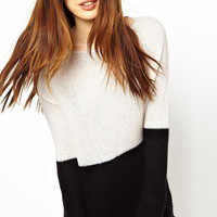 Heather Comfy Sweater in Black and Cream - Cream-Black /