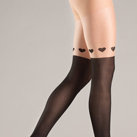 Pantyhose With Wrap Around Hearts Design