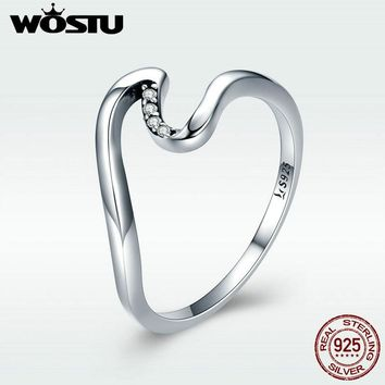 WOSTU 100% 925 Sterling Silver Wave Finger Rings for Women Wedding Engagement Party Sterling Silver Jewelry Gift DXR378