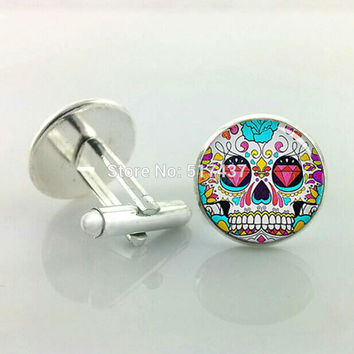 Hzshinling | Sugar Skull Cufflinks Rose Hipster