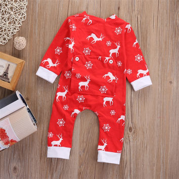 Newborn Baby Boys Girls Clothes Cotton Christmas Red Moose Deer Long Sleeve Romper Jumpsuit Outfits