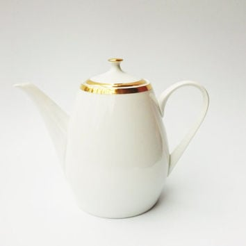 Vintage porcelain white and gold teapot from the 1960s, made in Czechoslovakia