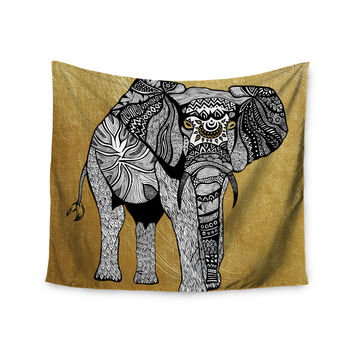 "Pom Graphic Design ""Golden Elephant"" Wall Tapestry"