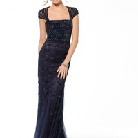 Navy Beaded Scallop Cap Sleeve Gown - Gowns - Dresses