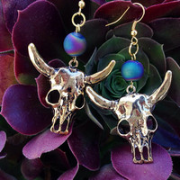 Steer Skull Druzy Earrings
