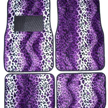 Purple Leopard Animal Print Front & Rear Carpet Car Truck SUV Floor Mats, USA, Brand LA Auto Gear