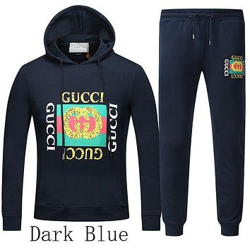ONETOW Boys & Men Gucci Top Sweater Pants Hoodie Trousers Set Two-Piece Sportswear
