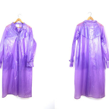 80s Purple Vinyl Raincoat Vintage SHEER Slicker Mod Jacket Long Plastic PVC Trench Coat Waterproof Rain Coat Womens Small Medium