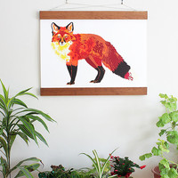 Red Fox II. Large Handmade Silk Screen Print. 30 x 20 Inches.