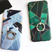 Green Patchwork and Ring iPhone 7 7Plus & iPhone se 5s 6 6 Plus Case Cover +Gift Box-166