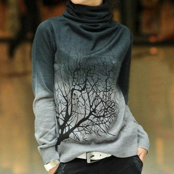 Gradient Unisex Turtleneck Cashmere Tree Gray Sweater = 1920392644