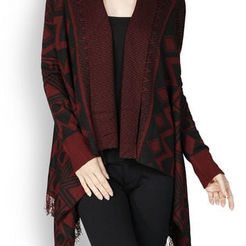 Burgundy & Black Aztec Cardigan