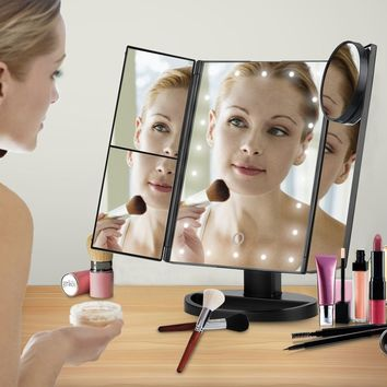 LED Touch Screen Makeup Mirror  20 /21 LEDs Lighted Makeup Cosmetic Mirror Adjustable Foldable Vanity Tabletop Countertop