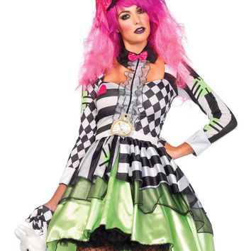2PC.Deliriously Mad Hatter,high/low dressw/ collar,hat headband in MULTICOLOR
