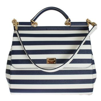 White Blue Striped SICILY Leather Shoulder Bag