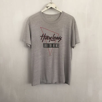 Huey Lewis shirt 1987 vintage t shirt band t-shirts rock tshirt 80s clothing vintage band tee Huey Lewis and the News thin grey tees large
