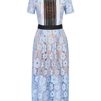 Blue Cut Out Detail Lined Floral Lace Midi Dress