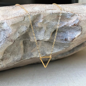 Triangle Necklace, Triangle Necklace Gold, Gold Triangle Necklace, Dainty Gold Triangle Necklace, Dainty Triangle Necklace, Gold Triangle