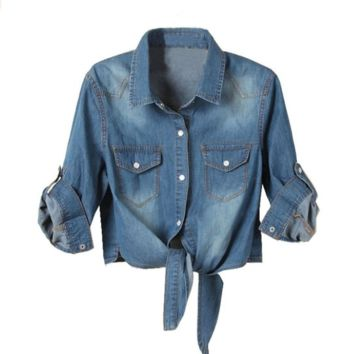 Denim Women's Tieclasps Short Design Denim Blouse