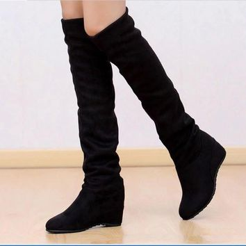 NEW Women's Elastic Stretch Suede Over Knee boots Elegant wedge heel Warm Boots Hot La