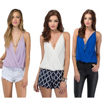 2016 Hot Sale Summer Women Shirt Sexy V-neck Camis Chiffon Tops Casual Sleeveless Solid Ladies Blouse Tops Fashion Camisas Mujer
