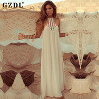 GZDL Women Hatler Backless Boho Hippy Drape Hallow Out Summer Chiffon Long Maxi Dress Beach Party Sundress Vestidos CL2670
