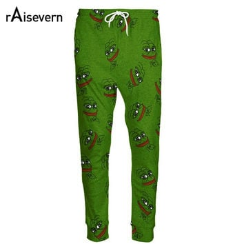 Raisevern Fashion 3D Pepe The Frog Joggers Pants Men/Women Funny Cartoon Sweatpants Trousers Elastic Waist Pants Dropship