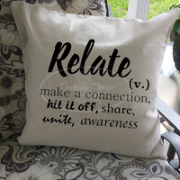 Relate inspirational throw pillow cover, 18x18