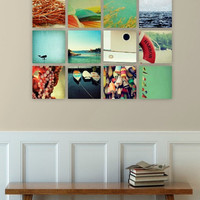 nautical art // beach wall decor // ocean photography art set // - set of twelve canvas art prints