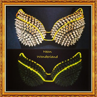 Light Up Bra - Sound Responsive Gold Spike Bra