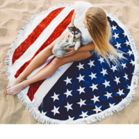 American flag print tassel edge round Beach towel carpet  BLANKET